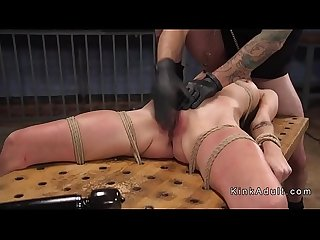 Tied up hottie gagged and rough fucked