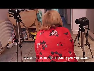 British mature wife and mother Rosemary gives upskirt panty views before swallowing a huge load of..