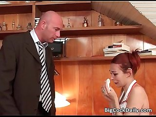 Redhead nurse with large boobs sucks