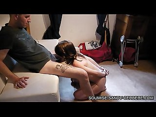 Soumise sandy french libertine bdsm gagging with handcuff