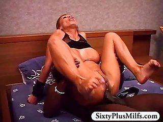 Horny GILF Rose fucked by big black dick