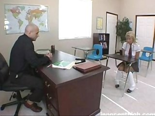 Sexy schoolgirl is soaking wet and waiting for her teacher to teach her ass a le