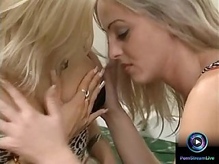 Betty Dark and Sylvie Taylor fucked in all holes after making out