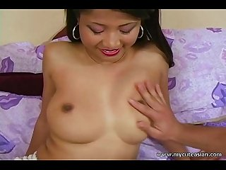 Sexy amateur Asian blowjob with cum on tits!