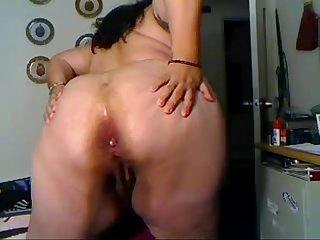 Bbw huge dildo anal
