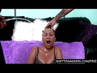 Angry ebony whore facefucked hard