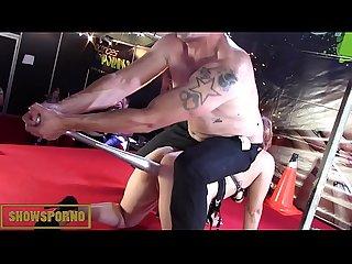 Redhead pornstar rough sex on stage