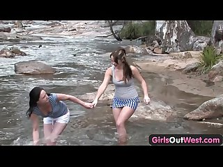 Girls out west amateur lesbians playing by the river