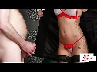 Redheaded british voyeur instructs sub to tug