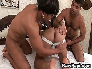Ultimate threesome latino bareback fucking