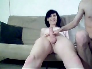 Sissy cums in Boyfriends mouth on Web