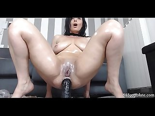 Hot sexy brunette plays big ass with huge anal dildo squirting