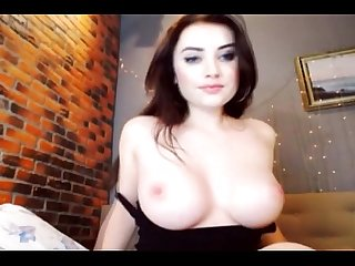 Pretty babe with huge tits masturbates live at Hotcam4.com