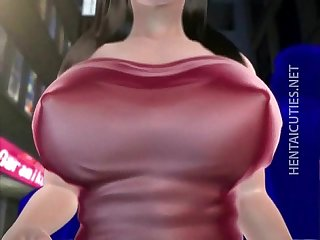 Sweet 3D hentai babe gets big jugs sucked