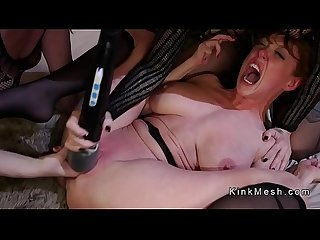 Double penetration sex for tied up lesbian