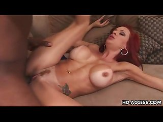 Mature redhead in interracial anal party