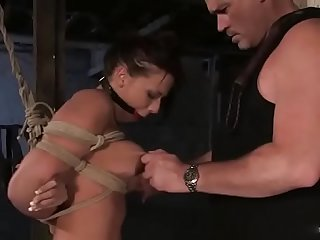 Bound, gagged and drooling cunt Rachel Starr gets brutally spanked and spinned around