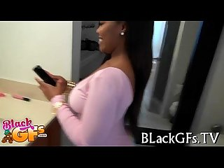 Black girl rides schlong on closeup
