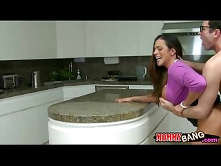 Stepmom ariella ferrera and teen threesome in the kitchen
