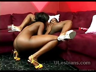 Two horny perverted black lesbian whores have wild oral sex