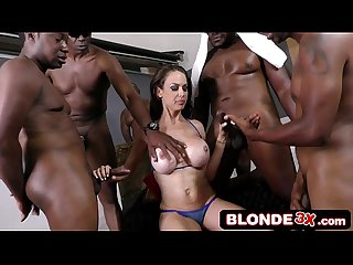 British milf mckenzie lee in an interracial gangbang on a hot summer day