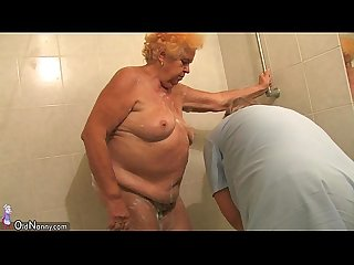 Oldnanny old chubby lady granny sucking dick and masturbation