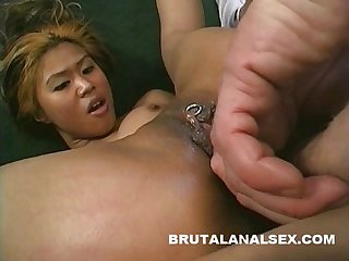 Petite asia has her asshole and mouth brutally pounded