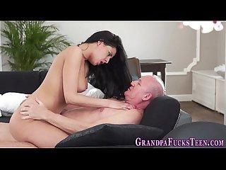 Teen babe fucks grandpa
