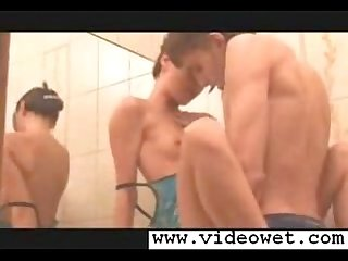 Ultra skinny brunette fucking in bathroom
