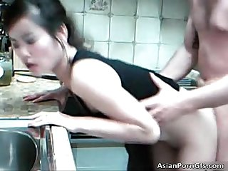 Cute asian babe getting slammed doggy