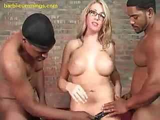 Blonde serves two big black cocks
