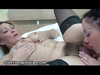 Teen girl loves licking her mature