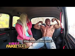Female fake taxi bodybuilder makes busty blonde cum in taxi fuck