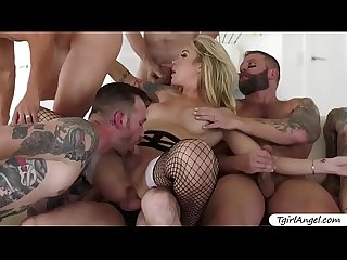 Stunning Ladyboy Aubrey Kate gets hot facial by six studs