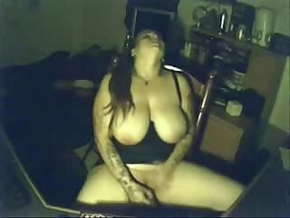 My pervert busty mom having fun at pc hidden cam