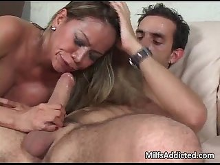Busty asian milf blows huge male hammer