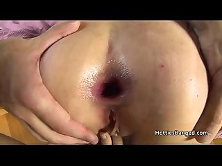 Skinny leggy gets chick anal and gags on cock