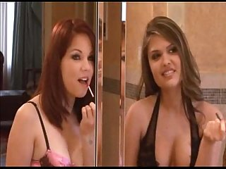 Phoebe and Vanessa Lynn get fucked in the bathroom