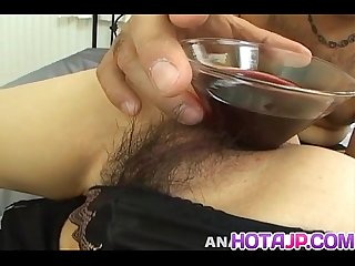 Chihiro Misaki gets sex toys in asshole and cock in hairy twat