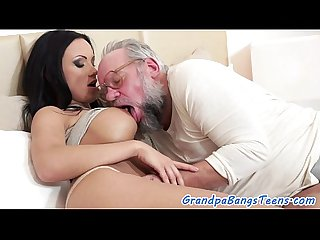 Busty eurobabe slams oldman