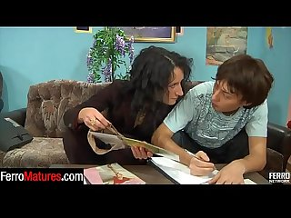 Hot business lady gives a guy a taste of her mature box clad in pantyhose