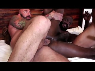 Interracial ass2mouth spit hairy hunks threesome
