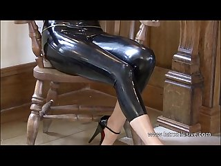 Brunette latex babe jerrys high heels fetish and tight rubber wear posing of sof