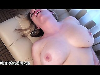 Busty blonde maggie green fingers her pussy by the window