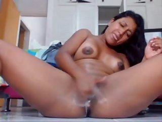 Latina girl creamy orgasm and hot squirt at hot8cams.com