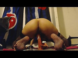 Hairy Pussy Rides Jelly Dildo Nice and Hard