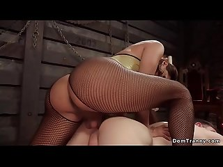 Tranny in fishnet and latex anal fucking