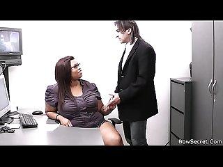 Busty ebony secretary rides her boss S cock