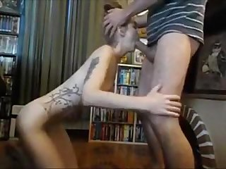 Petite tattooed redhead blowjob and cum in throat