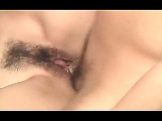 Hairy juicy Japanese pussy pounded deep in close up